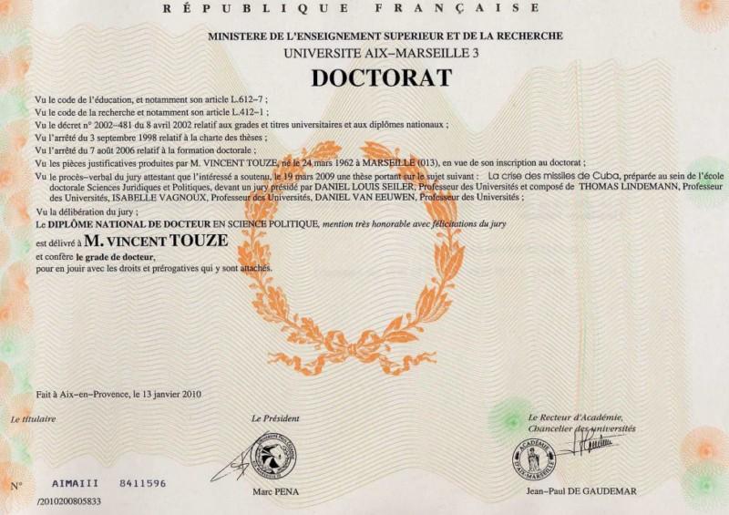 Vincent Touze doctorat